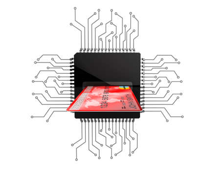 circuit sale: Digital Money Concept. Credit Card over Microchips with circuit on a white background Stock Photo
