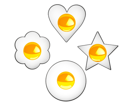 sunny side up eggs: Multiform Fried Eggs on a white background