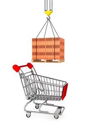 the pallet: Los ladrillos rojos sobre palets de madera con supermercado Carro de compras en un fondo blanco