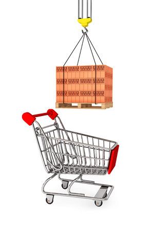pallet: Red Bricks over wooden Pallet with Supermarket Shopping Cart on a white background Stock Photo