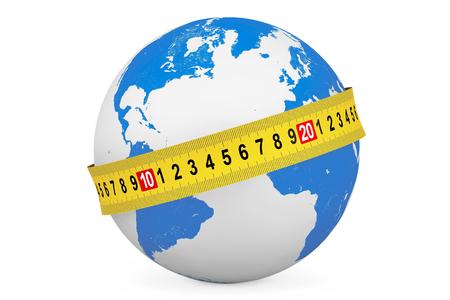 Concepto de la dieta global. Globo de la tierra con cinta métrica sobre un fondo blanco Foto de archivo - 51524198