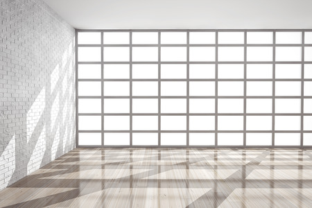 baseboard: Empty Room with Big Window extreme closeup. 3d rendering Stock Photo
