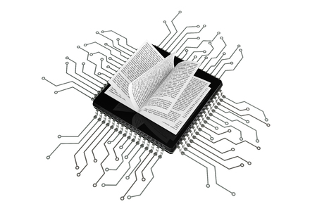 digital book: Digital Book Concept. Book over Microchips with circuit on a white background Stock Photo