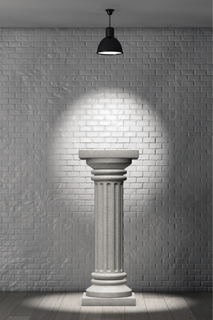 brick background: Stone Classic Greek Column in front of brick wall