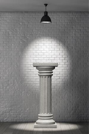 brick walls: Stone Classic Greek Column in front of brick wall