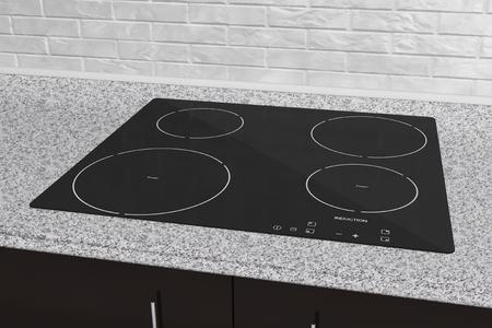 estufa de placa de inducción con muebles de cocina