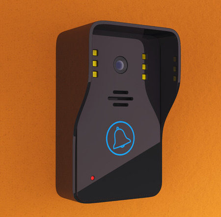 intercom: Modern Video Intercom on a orange wall background