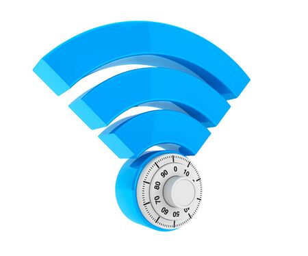 security symbol: WiFi internet security concept. 3d symbol wifi with Padlock on a white background Stock Photo