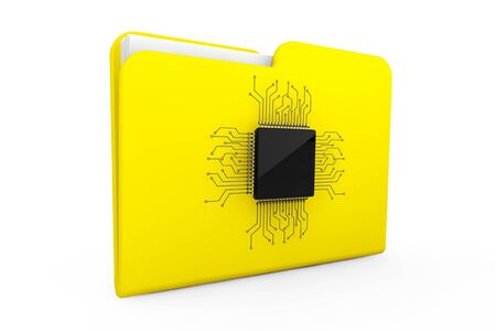 Yellow Folder with Microchip on a white background Stock Photo