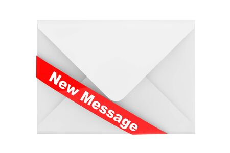 e new: Envelope with New Message Sign on a white background