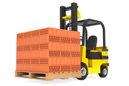 heave: Forklift Truck with Bricks over pallet on a white background Stock Photo