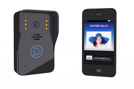 Modern Video Intercom with Mobile Phone Controller on a white background