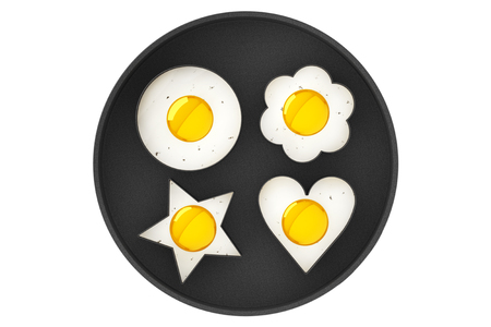 sunny side up eggs: Multiform Fried Eggs in Pan on a white background Stock Photo