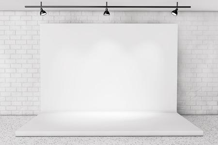 Blanc Backdrop étape dans la chambre avec Brick Wall extrême gros plan Banque d'images - 51524342