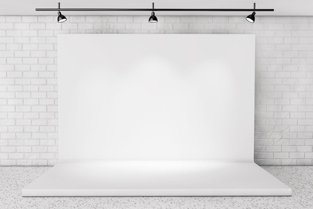 stage: White Backdrop Stage in Room with Brick Wall extreme closeup