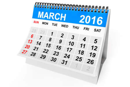 2016 year calendar. March calendar on a white background