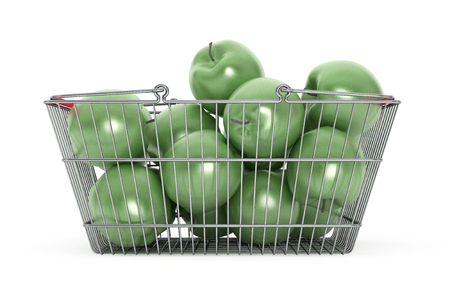green apples: Supermarket Shopping Basket filled with Green Apples on a white background