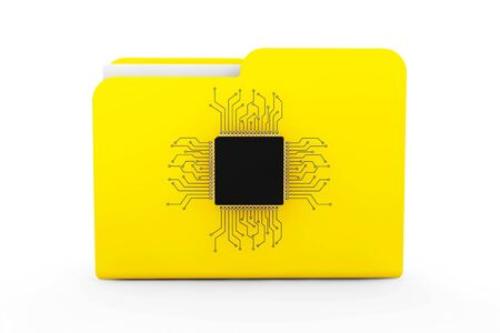 dir: Yellow Folder with Microchip on a white background Stock Photo