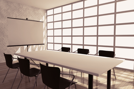 projection screen: Projection Screen, Table and Chairs in Office Room. 3d rendering