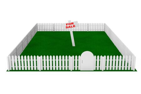 yard sign: Yard with White Fence and For Sale Sign on a white background