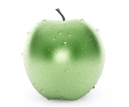 ripened: Wet Geen Apple on a white background
