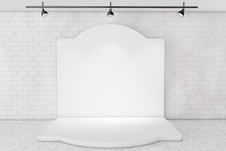 plafond: White Backdrop Stage in Room with Brick Wall extreme closeup
