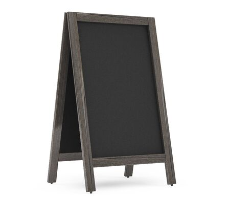 wood carving 3d: Blank Wooden Menu Blackboard Outdoor Display on a white background Stock Photo