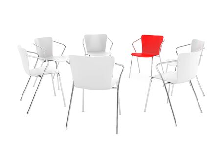 round chairs: Business large meeting. Chairs arranging round with Boss Chair on a white background