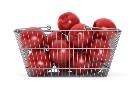 apples basket: Supermarket Shopping Basket filled with Red Apples on a white background Stock Photo