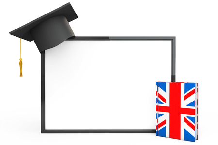english book: English Learning Concept. Graduation Cap, Chalkboard and English Grammar Book on a white background