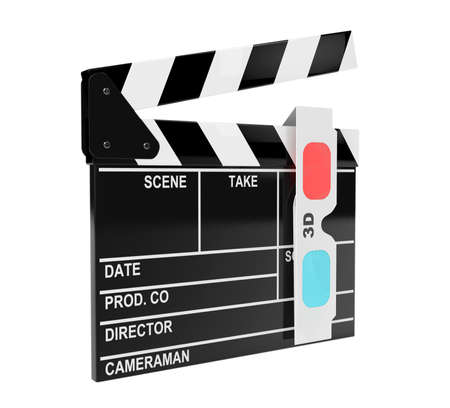 anaglyph: Movie Clapper Board with 3d Anaglyph Glass on a white background