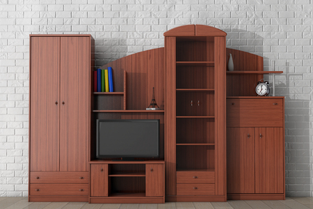 living unit: Living Room Wall Unit in front of brick wall. 3d rendering
