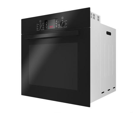 Negro moderno horno eléctrico sobre un fondo blanco. Las 3D Foto de archivo