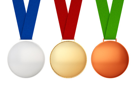 professional sport: Gold, Silver and Bronze Medals on a white background