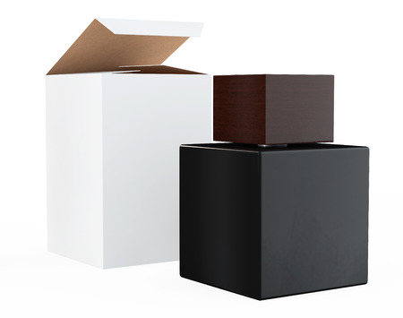 scent: Black Perfume Bottle and Package Box on a white background