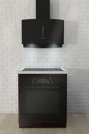 aspirator: Induction Cooker and Glass Oven with Aspirator in front of brick wall