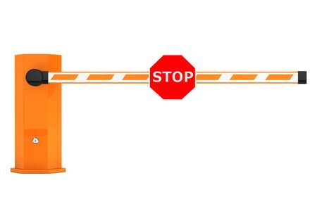 construction vehicle: Road Car Barriers with Stop Sign on a white background