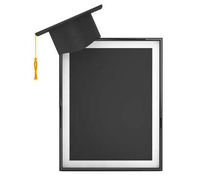 examiert: Graduation Academic Cap with Blank Photo Frame on a white background