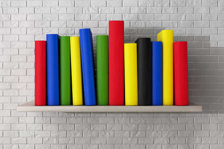 book shelf: Book Shelf with Multicolour Books in front of brick wall Stock Photo