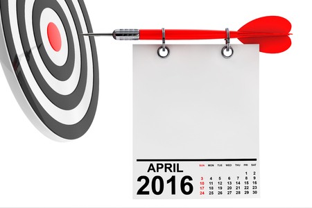 note paper: Calendar April 2016 on blank note paper with free space for your text with target Stock Photo
