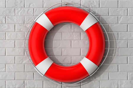 Life Buoy Hanging on the Brick Wall extreme closeup