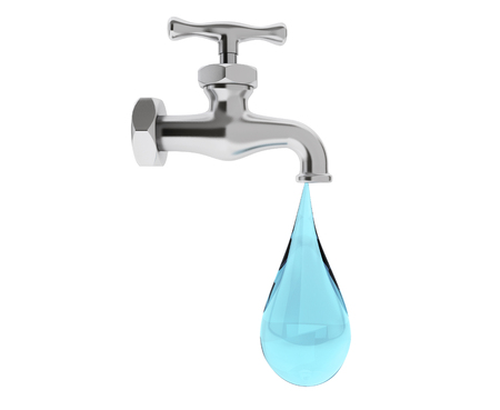drinkable: Water Tap with Drop on a white background