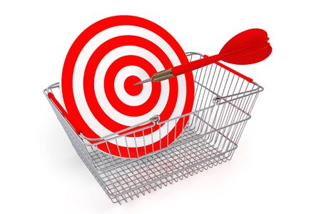 checkout line: Shopping Basket with Target as Darts on a white background
