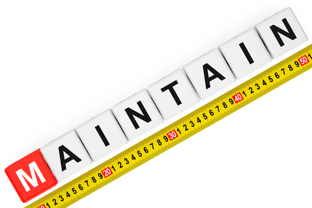 maintain: Measure Maintain Concept. Maintain Cubes with Measuring Tape on a white background