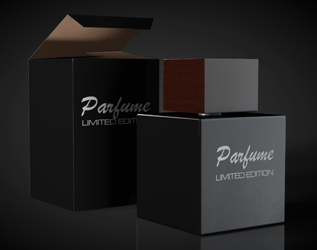 aftershave: Black Perfume Bottle and Package Box on a black background