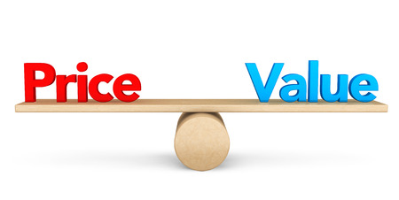 Price and Value balance concept on a white background