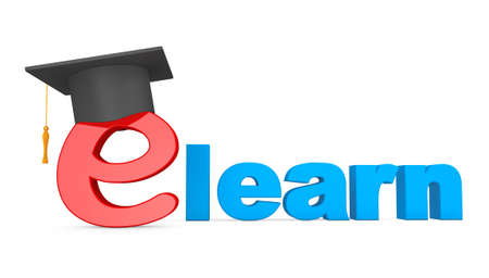 e white: E-learning Concept. Graduation Hat over E Letter on a white background Stock Photo