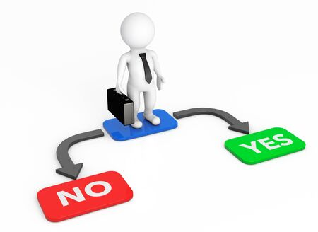 yes or no: 3d Businessman with Choice Arrow Points Yes and No on a white background Stock Photo