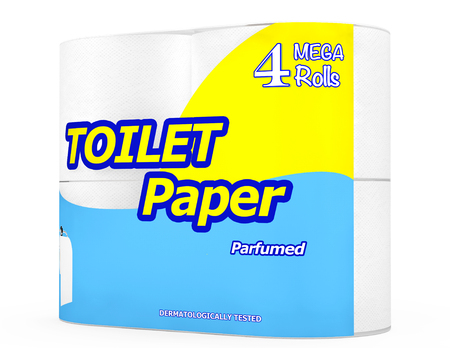 waste heap: Four Roll of Toilet Paper Package on a white background