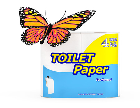 Butterfly over Four Roll of Toilet Paper Package on a white background